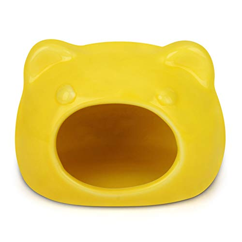 Small Pet Hideout Ceramic House Cute Adorable Cave Critter Hut Nest for Mini Animals Gerbils Chinchillas Hamster Mice Rat (Pink, L) (Yellow, S)