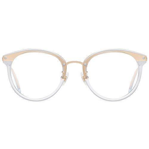 SOJOS Rund Groß Brille mit Blaulichtfilter ohne Sehstärke Anti-Blaulicht Gläser Brille SJ9001 Ashley mit Transparenter Rahmen/Anti-Blau-Lichtlinse