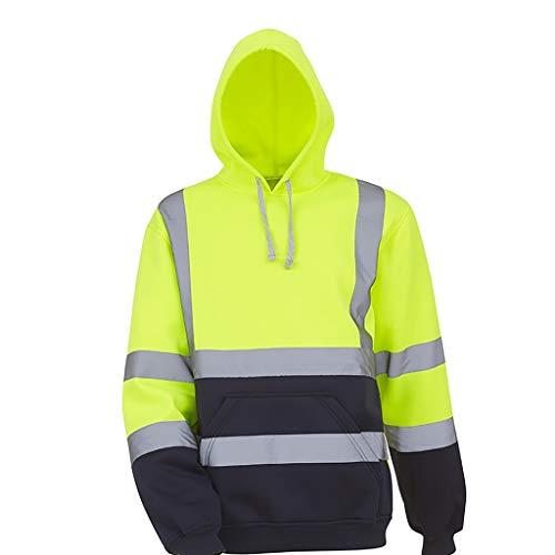 Sllowwa Herren Hoodie Kapuzenpullover Sweatshirt Sweater Pullover Road Work High Visibility Pullover Langarm-Kapuzenpullover Oberteile Bluse
