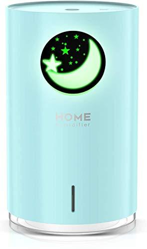 POVO 700ml Difusor Aceites Esenciales para Aromaterapia, Diufusor de Aromas Humidificadores Bebé niebla fría con Apagado Automático sin Agua Luz Nocturna de 7 Colores sin BPA (Azul Pálido)