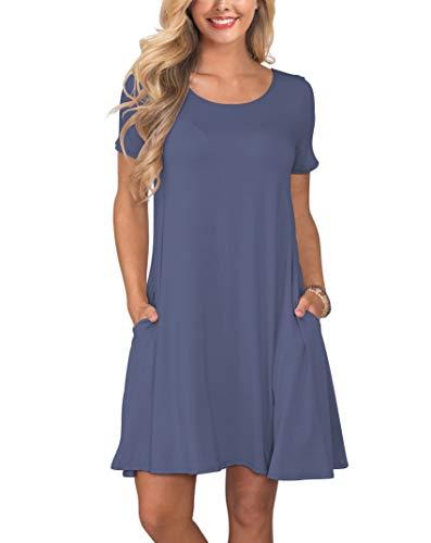 KORSIS Women's Summer Casual T Shirt Dresses Swing Dress PurpleGray M