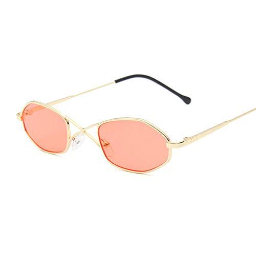 IRCATH Gafas de Sol de Montura pequeña ovaladas de Metal Hombres Mujeres Clásico Vintage Rosa Amarillo Película Moda Espejo Gafas de Sol Mujer Hombre Bicicleta Pesca Golf Gafas-C11
