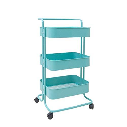 SimplicityNSYNSY Carrito de almacenamiento, carrito de 3 niveles, carrito con ruedas, carrito organizador con ruedas para dormitorio, cocina, baño, lavandería, oficina (Color: Azul, Tamaño: 35 * 45