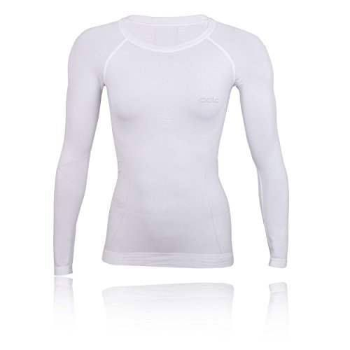 Odlo Evolution Warm Shirt L/s Crew Neck Top à Manches Longues Femme, Multicolore (White/Silver Grey 10000), 32 (Taille Fabricant: Medium)