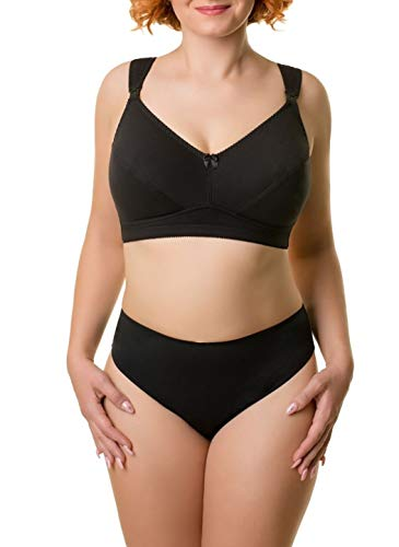 BaiBa Klassischer Schwangerschafts-/ Umstands-/ Still-BH ohne Bügel aus Baumwolle, Größe 80H 80 H, Farbe Schwarz