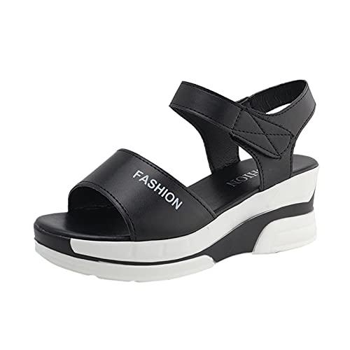 URIBAKY - Sandalias de verano para mujer, con gancho y hebilla, Negro (Negro ), 40 EU