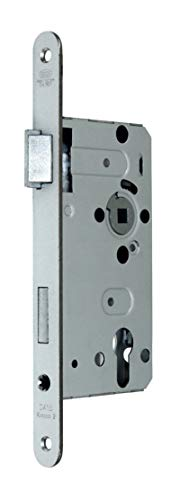 BKS Standard Zimmer Türschloss für Profilzylinder 55/72/8, Stulp: 20 x 235mm abgerundet, DIN Links incl. SN-TEC® Montageset