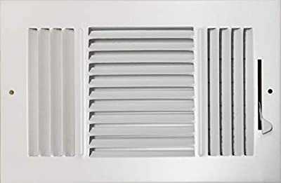 """HBW 10""""x 6"""" (Duct Opening Size) 3-Way Stamped Face Steel Ceiling/sidewall Air Supply Register - Vent Cover - Actual Outside Dimension 11.75"""" X 7.75"""""""