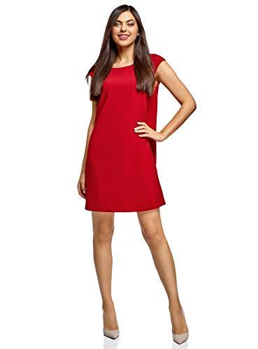 oodji Ultra Mujer Vestido Recto con Escote Pronunciado en la Espalda, Rojo, ES 36 / XS