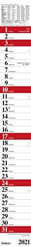 Streifenplaner Praktika Rot 2021: Streifenkalender mit Datumsschieber, Ferienterminen und Spiralbindung I schmal im Format: 11,4 x 89 cm