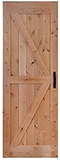 LUBANN 30 in. x 84 in. Urban Style Framed British-Brace Barn Door Unfinished Hardwood Knotty Alder Solid Wood Dissembled Barn Door Slab with Hardware