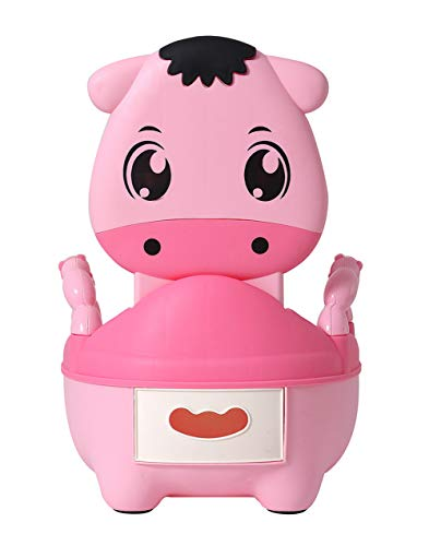 Glenmore Töpfchen für Kinder Baby WC Babytopf Potty Toilette mit Deckel Gepolstertes Maedchen Rosa Kalb