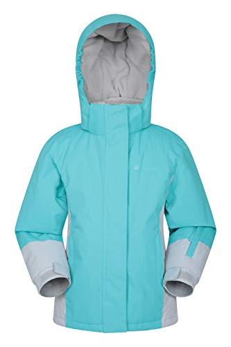 Mountain Warehouse Honey Skijacke für Kinder - Schneedicht, verstellbare Bündchen, Kinderjacke mit Fleecefutter, integrierter Schneerock, Winterjacke- Hält Kinder warm Blaugrün 3-4 Jahre