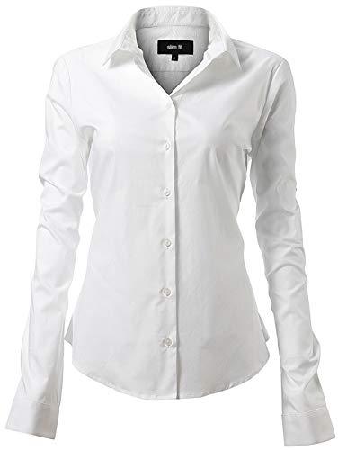 INFLATION Damen Hemd mit Knöpfen Bluse Langarmshirt Figurbetonte Hemdbluse Business Oberteil Arbeithemden Weiß 41/12
