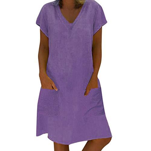 Momoxi Frauen Sommer T-Shirt Baumwolle Casual Plus Size Damen Leinen Kleid Kurzärmliges Cocktailkleid mit V-Ausschnitt mit Taschen Brautkleider hochzeitskleider Rock Lederjacke Violett 5XL
