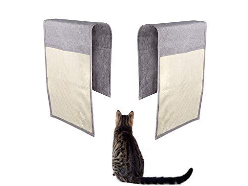 Set di 2 tappetini antigraffio per gatti, in sisal, protezione per mobili, in sisal naturale, per gatti addestramento, giocare a giocattolo, salotto e poltrona, protezione per tappeti (grigio chiaro)