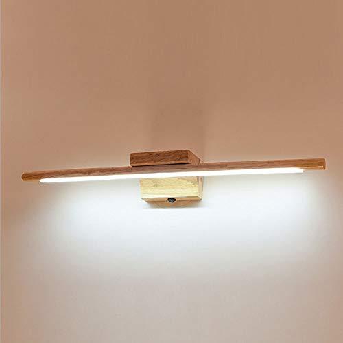 Alppq LED Tocador Cuarto de baño Aplique de pared Lámpara de pared nórdica Espejo de madera maciza Faros con interruptor Protección ambiental Lámpara de pared Moderno Simplicidad Decoración creativa L
