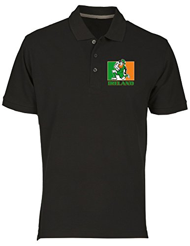 T-Shirtshock Polo fur Mann Schwarz TRUG0114 Irish Leprechaun Rugby 2 Logo
