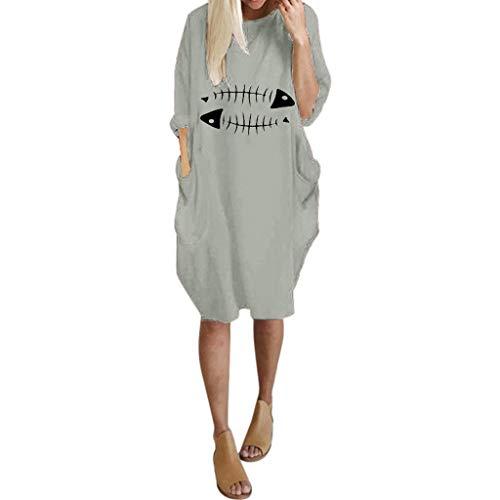 Realde-Vestito Elegante Donna Manica Lunga Girocollo Tinta Unita Sciolto Moda Abito al Ginocchio Invernale Vestiti per Casuale Partito Cocktail Festa Cerimonia Formale Business Celebrazione