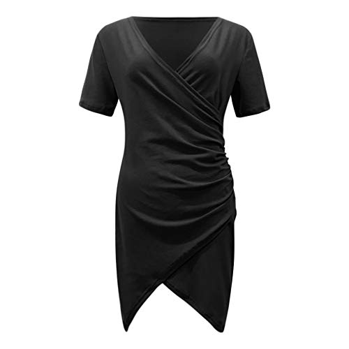 Best Bargain Witspace Women Sexy V Neck Wrap Front Ruched Asymmetrical Hemline Solid Sheath Dress