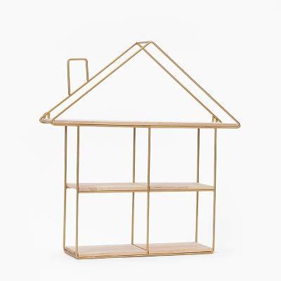 KOKOF Opslag rek, Wandplank, Nordic ins muur plank eenvoudige huis woonkamer plank muur opknoping decoratieve ijzeren ambachten display stand 50 * 12 * 48cm-Housegold