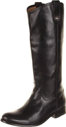 FRYE Original Melissa Button, Botte d'équitation Femme, Cuir de Veau, Large, Noir Lisse Vintage, 36.5 EU