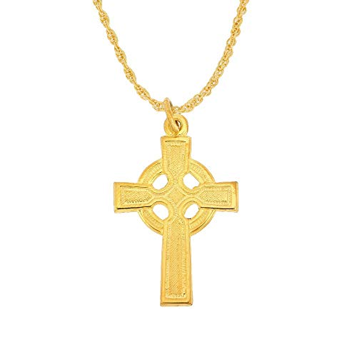 24K Gold Filled 925 Sterling Silver Polished Celtic Cross Pendant Necklace; 1' x 1/2' INCLUDES 22' Gold Filled Chain