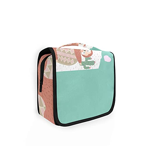 Sloth Llama Different but Best Friend Women Travel Cosmetic Bag, Hanging Toiletry Wash bag, Portable Makeup Organizer Brush Case, Storage Bag with Hook for Bathroom Toilet