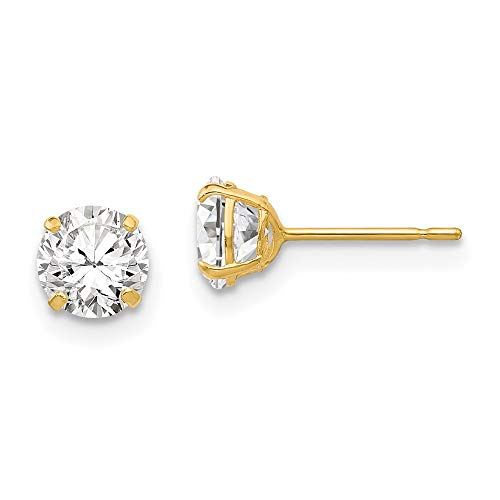 14ct Yellow Gold 5mm Round Cubic Zirconia Post Earrings