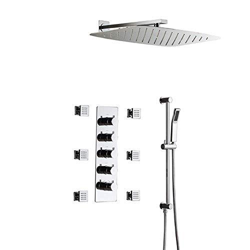 Jkckha ahorro de agua Temperatura constante De pared Conjunto de ducha termostática con barras de ducha, grifo de la ducha de cobre, 24 pulgadas de pulverización superior Sistema rociador lateral de l