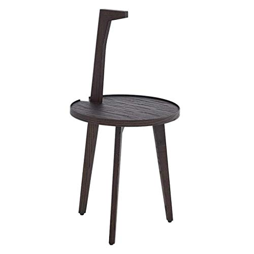 LILICEN LYJ Solid Wood Coffee Table Simple Modern Three-legged Personality Handle Small Round Table Dark Brown