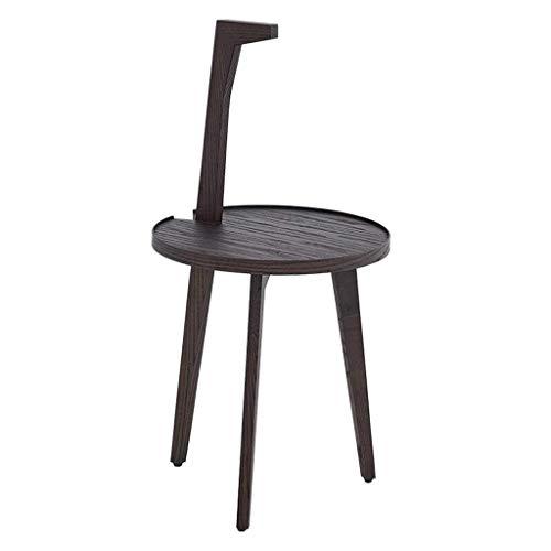 HYY-YY Mesa de centro de madera maciza simple moderna de tres patas con mango de personalidad pequeña mesa redonda marrón oscuro