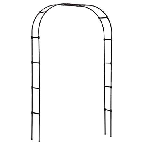 RuBao Torbogen Garten pulverbeschichteter Stahl, gewölbte Laube Stützrahmen Pergola für Kletterpflanzen und Hochzeitsdekoration, runder Rosenbogen, schwarz