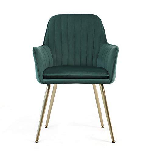 Irene House Silla de dormitorio de tela de terciopelo con patas de metal, silla de salón, silla de comedor, silla para mesa de tocador (verde, 1)