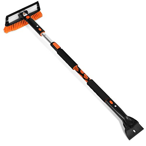 Snow MOOver 58  Extendable Snow Brush with Squeegee & Ice Scraper for Car or Truck - Foam Grip - Auto SUV Snow Removal - Removable Ice Scraper for Windshield - Extra Long