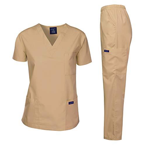 Dagacci Medical Uniform Woman and Man Scrub Set Unisex Medical Scrub Top and Pant, Khaki, S