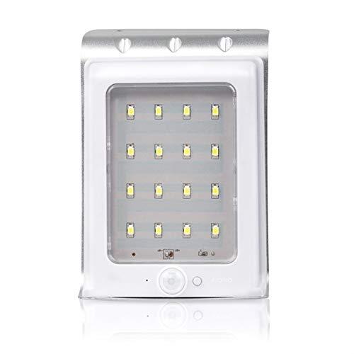 Mike Wodehous Lámpara de pared Luces solares de pared for hotel, 16 LEDS IP65 Luces impermeables Luces de sensor de movimiento Luces de seguridad for patio, terraza, patio, jardín (Color : White)