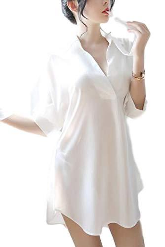 [ロカロカ] セクシー ランジェリー シャツ風 パジャマ ミニ ワンピース ベビードール ルームウェア ネグリジェ 半袖 ルームワンピース ナイトウェア ねまき 寝間着 下着 セットランジェリー セット 彼シャツ キャミソール スリップ 白 白色 ホワイト (ホワイト)