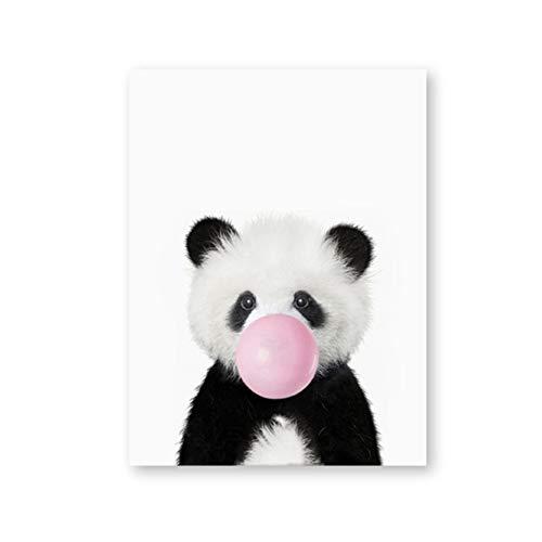 YIYAOFBH Baby Panda Print Dier Met Bubble Gum Poster Kwekerij Muur Art Foto Decor Leuke Roze Ballon Baby Canvas Schilderij-50x70cm Framework