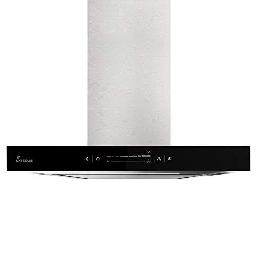 Premium-Dunstabzugshaube, Wandhaube (60cm, Edelstahl, schwarzes Glas, Extra-leise, WIFI, Energieklasse A++, 10 Stufen, LED-Beleuchtung, TouchSelect Sensortasten) FLAT6005ED - KKT KOLBE