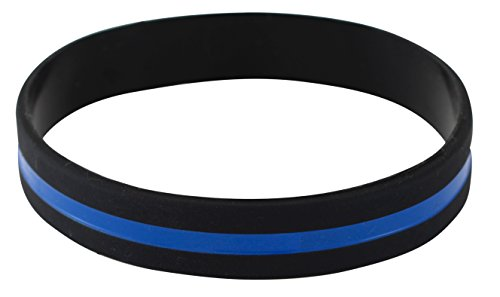 Emblematic Jewelry Police Officers Patrol Awareness Support Thin Blue Line Silicone Wristband Bracelets Value Pack (10 Bracelets)