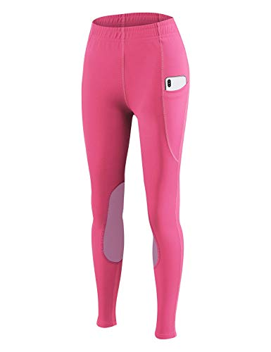 BALEAF Girls Riding Pants Equestrian Horse Kids Riding Breeches Tights Youth Knee-Patch Schooling Pocket UPF50+ Hot Pink M