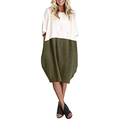 LILICAT_Kleider Damen Elegant Kleid Chiffon Abendkleid Minikleid Mode Lässige Strandkleid Loose Fit Leinen Patchwork Halbe Hülse Solid Button Splice Pocket Rock