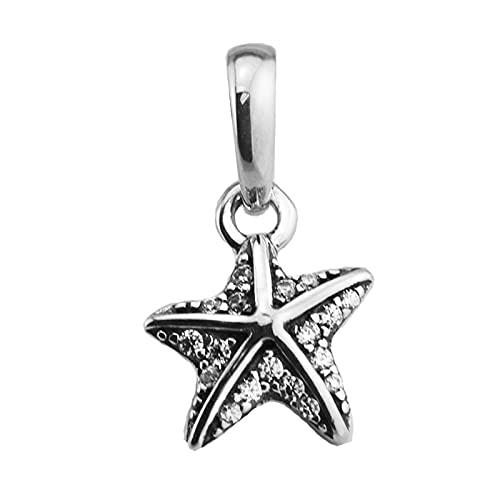 LIIHVYI Pandora Charms para Mujeres Cuentas Plata De Ley 925 Joyas Colgantes con Estrellas De Mar Tropicales Transparentes Argent Compatible con Pulseras Europeos Collars