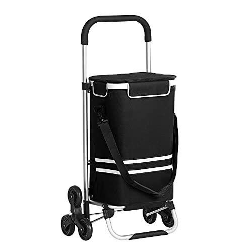 SONGMICS Einkaufstrolley, klappbar, Stabiler Einkaufswagen, mit Kühlfach,schwarz KST007B01