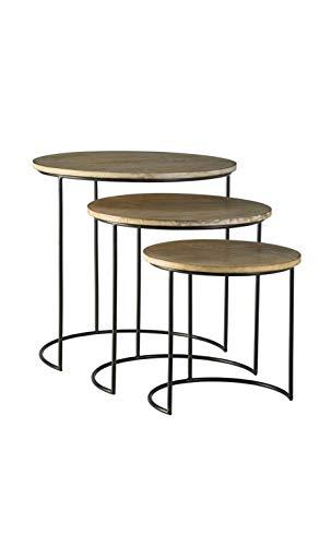 CAMINO A CASA - Juego de 3 mesas auxiliares de metal y mader