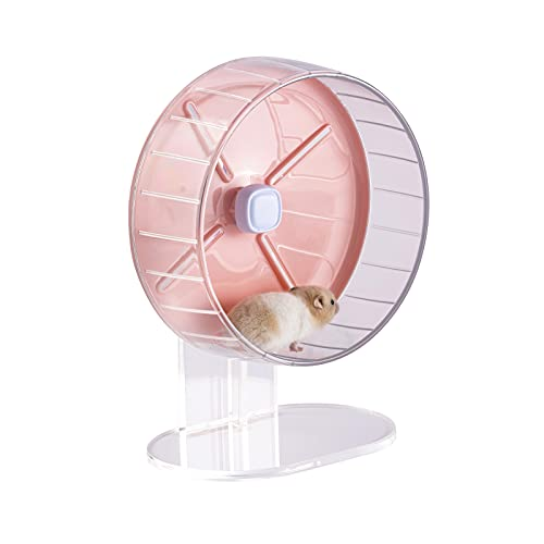 MouseBro Windmill Silent Candy-Color Hamster Wheel with Height-Adjustable Base and Cage Attachment for Hamsters, Gerbils,Dwarf Hamsters,Mice,Rat,and Other Small Animals (Hamster Cage Wheel)