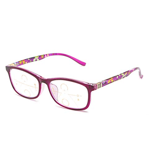 Multifokale Lesebrille,Anti-Blaulicht,Nah- und Fern-Dual-Purpose-Reader-Brille,Intelligenter Automatischer Zoom,Augenoptik Brille Lesehilfe für Männer und Frauen,Dioptrien(purple+2.50)