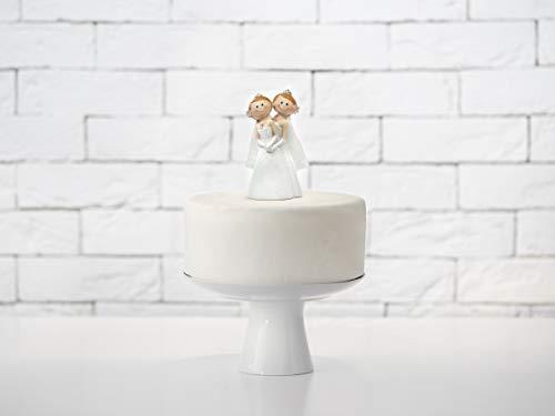 PartyDeco– Figura de novia para mujer, Unión Civil, boda, decoración para tarta de Cake, color blanco, PF53