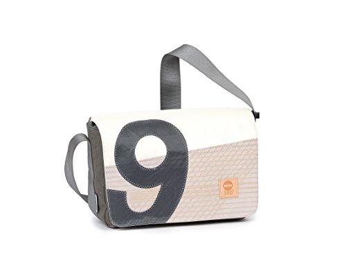 360° Barkasse Mini Segeltuchtasche, Recycling Laptoptasche bis 13'', Umhängetasche Tweed, Kevlar, Zahl grau Crossover, Messengerbag